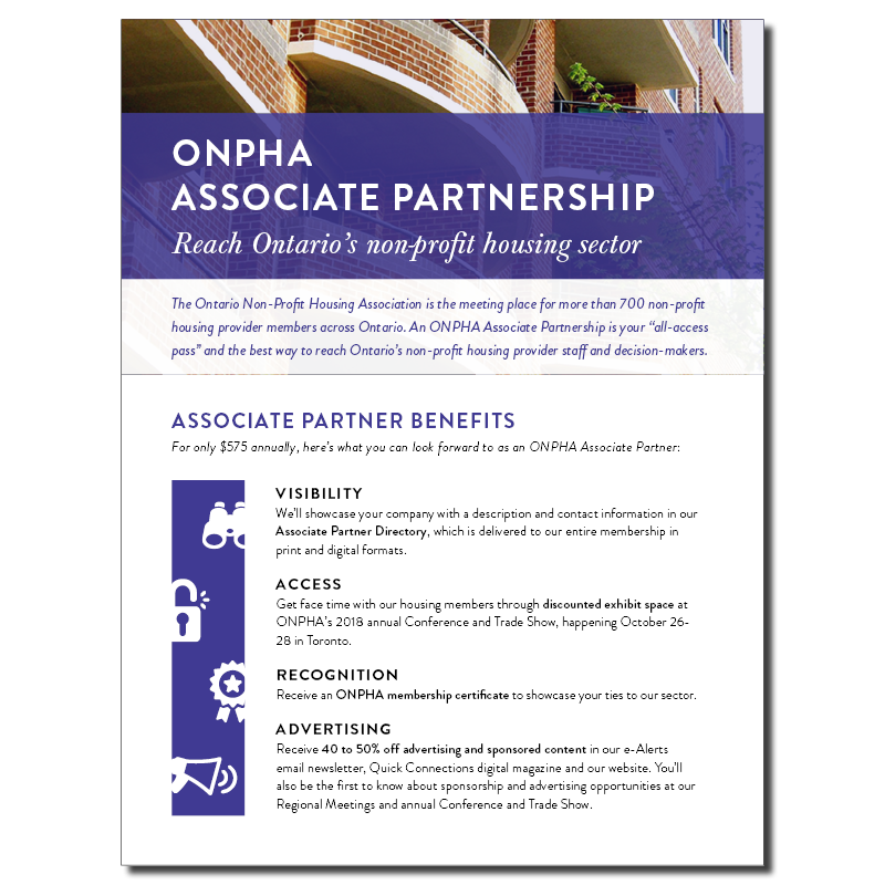 Cover page of ONPHA's Associate Partnership flyer