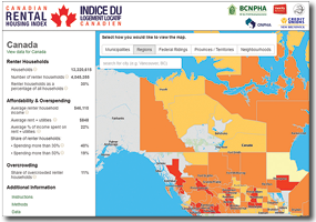 Home page of the Canadian Rental Housing Index, featuring a map of Canada sorted into census areas