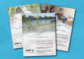 Cover pages of case studies in ONPHA's Innovations in Housing Stability series